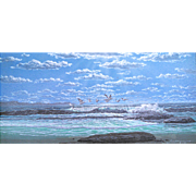 "Frank Magsino ""Pelicans in Flight"" seascape, acrylic on masonite, 1981"