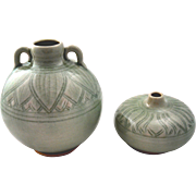 Pair of Celadon colored crackle glaze vases, leaf motif