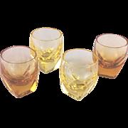 Set of 4 Moser crystal bar shot glasses; 2 yellow, 2 orange