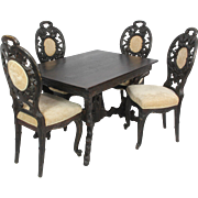 Black Forest Carved Table and Chairs