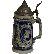 SALE German Salt Glaze and Pewter Stein