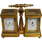 French Brass Carriage Clock with Barometer