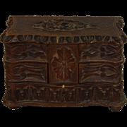 Dutch Petite Carved Wood Jewelry Box