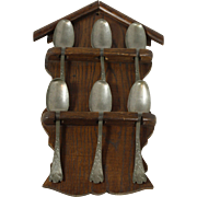 Early 20th Century Hanging Spoon Rack With Six Large Pewter Spoons
