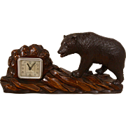 SALE Art Deco Style Carved Bear with French Winding Clock.