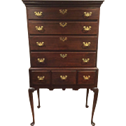 Antique Queen Anne Flat Top Highboy 18c SALE