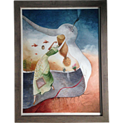 Original watercolour painting of the Girl with birds, signed by the artist