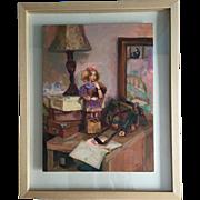 """Contemporary original painting """"Girl's night table"""" by Ksenia Sapunkova, acrylic on"""
