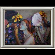 "Original contemporary painting ""The secret garden"". Acrylic on canvas, by Ksenia Sap"