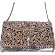 SALE Vintage Sterling Silver Filigree Floral Handbag