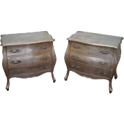 Vintage Silver Leaf Pair of French Style Hollywood Regency Chests Nightstands