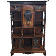 Antique Chinese Bronze Dragon Mounted Etagere Cabinet w/ French Etched Glass Door