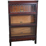 Globe Wernicke Antique Mahogany Stacking Leaded Glass Barrister Bookcase