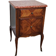 Antique French Louis XV Style Walnut Marble Top Nightstand End Table