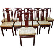 Quality Set of 10 Chinese Rosewood Oriental Style Dining Chairs