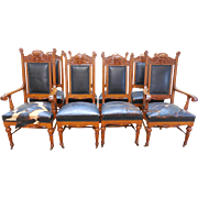 Hastings Antique Set of 8 Honey Oak Northwind Carved Victorian Dining Chairs