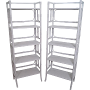Vintage Pair of Hollywood Regency White Painted Rattan Bamboo Etageres Bookcases