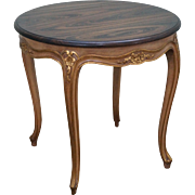 Custom Quality Vintage French Louis XV Style Small Round Gilt Base Side Table w/ Rosewood Top