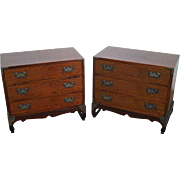 Vintage Pair of Elmwood Asian 3 Drawer Chest on Frame Nightstands
