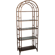 Hollywood Regency Faux Bamboo Gold Painted Metal Arch Top Etagere