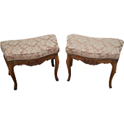 Custom Pair of French Louis XV Style walnut Ottomans Benches
