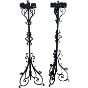 Quality Pair of Wrought Iron Torchieres Candle Holders