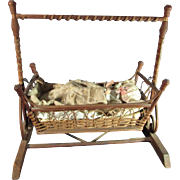 SALE Fabulous Antique Doll Wicker Swing Cradle With Original Bedding
