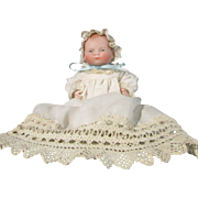 """SALE Adorable All Bisque 6"""" Bye Lo Baby Painted Eyes One Piece Head And Torso"""