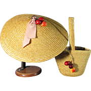 Absolutely Adorable 1940's Straw Hat and Bag For Large Doll