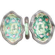 A pair of Tongzhi M & P Dishes with Burmese Jade and Coral wrapped in Pewter ...