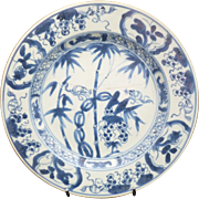 18th c Kangxi rare blue and white Squirrel and Vine Motif Plate