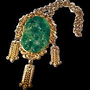 Vintage signed Vendome massive gold tone faux jade pendant necklace
