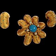 Vintage 1970's signed Vendome incredible turquoise rhinestone pin/pendant earrings