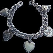 Vintage fab sterling puffy heart bracelet - walter lampl, flags, etc.