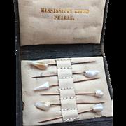 Victorian Mississippi pearl & gold set stick pins
