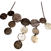 REDUCED Antique American coin love token festoon necklace