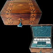 SALE Antique Tunbridge Ware Style Banded Walnut Box. C1880. Tray with Original Silk Interior.