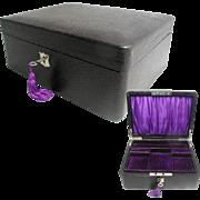 Art Deco Black Leather Jewelry Box. Excellent Original Condition. Plush Interior. Tray & Key