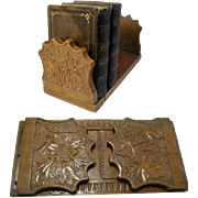 Antique Desk Top Book Slide or Extendable Book Rack. High Quality Carved Blond Hard Wood ...