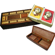 SOLD Antique Inlaid Mahogany Cribbage Games Box. With Playing Cards