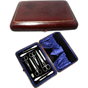 English Antique Mother of Pearl Sewing Set in Leather Case Circ. 1890 - 1900. Original Velvet
