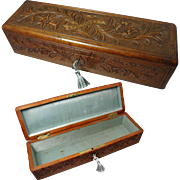 Antique Hand Carved Black Forest Type Glove or Jewelry Box. 19th Century