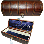 Fine Quality Antique Tooled Morocco Leather Jewelry Box / Glove Box, & Hat Pins. Original Silk