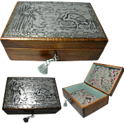 English Arts & Crafts Satin Wood Jewelry Box with Embossed Pewter Top in a Stork & Dragon ...
