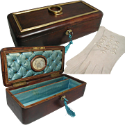 Antique French Casket, Jewelry Box / Glove Box. Mounted with Gilded Bronze Handle: Silk ...