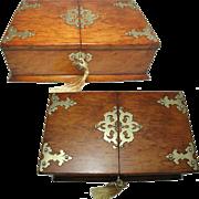 English Oak Cigar Box or Table Casket. Brass Mounted. Lock and Key.