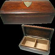 SALE English Solid Oak Art Deco Box. Plated Shield Shaped Cartouche. Interior Compartments