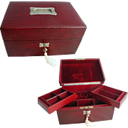 Large Leather Victorian Jewellery Box. All Original. Velvet Interior Trays and Compartments. .