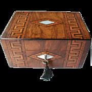 Victorian Tunbridge Ware Banded Walnut Box. C 1880. Original Silk Interior and Tray. Sewing Bo