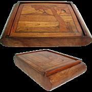 Walnut Inlaid Box. Italian, Art Deco 1920s/30s. Marquetry Top.